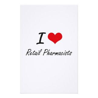 Amo a farmacéuticos al por menor papelería personalizada