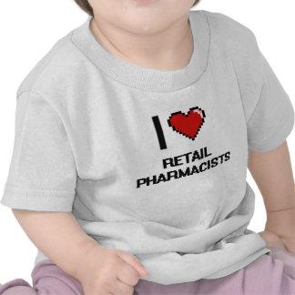 Amo a farmacéuticos al por menor camisetas