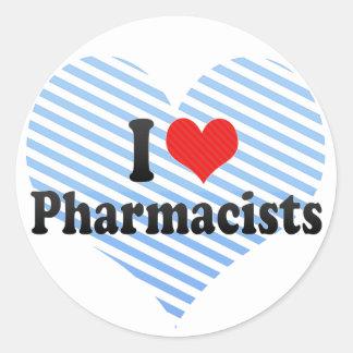 Amo a farmacéuticos pegatina redonda