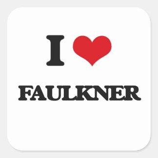 Amo a Faulkner Pegatina Cuadrada