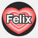 Amo a Felix. Te amo Felix. Corazón Etiqueta Redonda