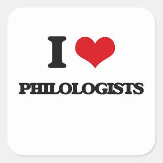 Amo a filólogos pegatina cuadrada