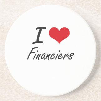 Amo a financieros posavaso para bebida