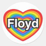 Amo a Floyd. Te amo Floyd. Corazón Pegatina Redonda