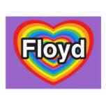 Amo a Floyd. Te amo Floyd. Corazón Postal