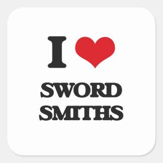 Amo a forjadores de la espada calcomania cuadrada personalizada