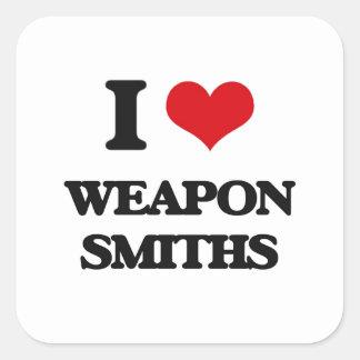 Amo a forjadores del arma pegatinas cuadradases