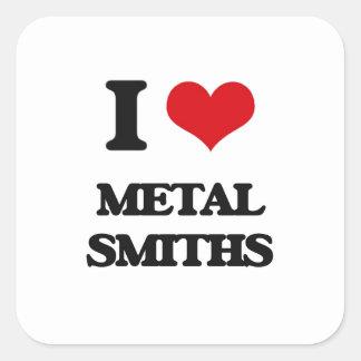 Amo a forjadores del metal pegatinas cuadradas personalizadas