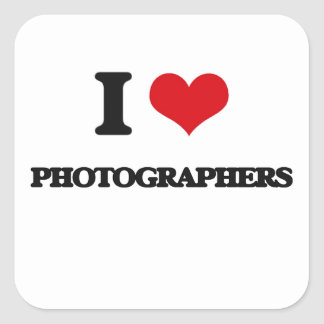 Amo a fotógrafos pegatina cuadrada