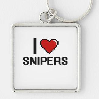 Amo a francotiradores llavero cuadrado plateado