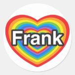 Amo a Frank. Te amo Frank. Corazón Etiquetas Redondas
