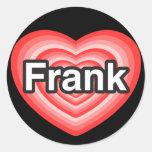 Amo a Frank. Te amo Frank. Corazón Pegatinas