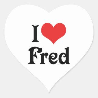 Amo a Fred Pegatina En Forma De Corazón
