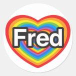 Amo a Fred. Te amo Fred. Corazón Pegatina Redonda