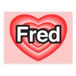 Amo a Fred. Te amo Fred. Corazón Postal
