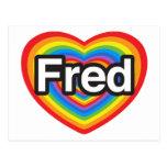 Amo a Fred. Te amo Fred. Corazón Tarjeta Postal