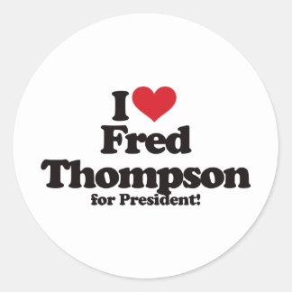 Amo a Fred Thompson para el presidente Pegatina Redonda