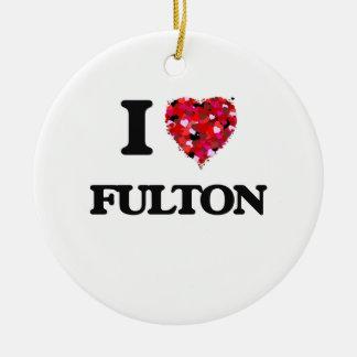 Amo a Fulton Adorno Navideño Redondo De Cerámica