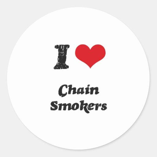 Amo a fumadores empedernidos etiquetas redondas