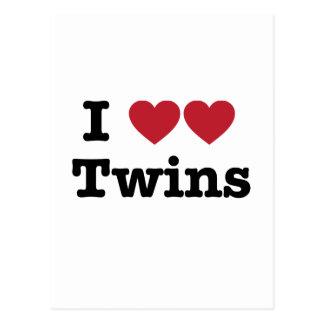 Amo a gemelos tarjetas postales