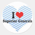 Amo a generales superiores pegatina redonda