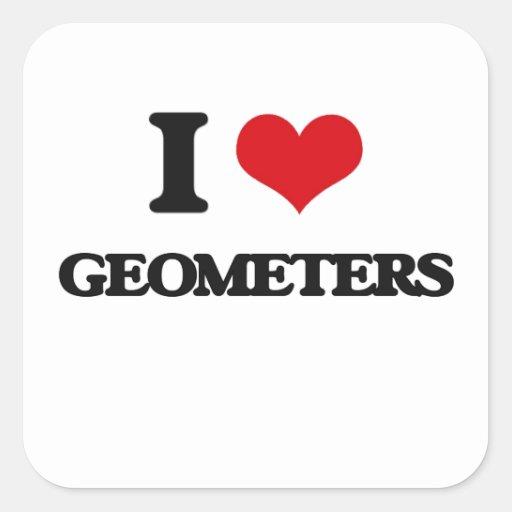 Amo a geómetras pegatina cuadradas personalizada