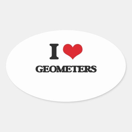 Amo a geómetras pegatina óval