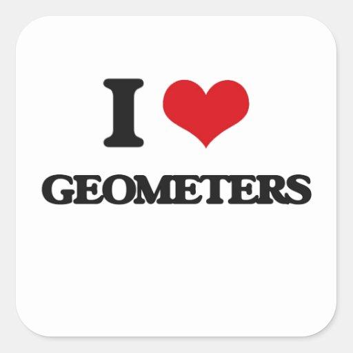 Amo a geómetras calcomanía cuadrada personalizada
