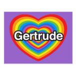 Amo a Gertrudis. Te amo Gertrudis. Corazón Tarjeta Postal