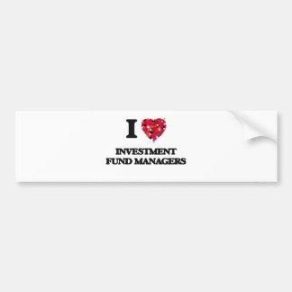 Amo a gestores de fondos de inversión de la pegatina para auto
