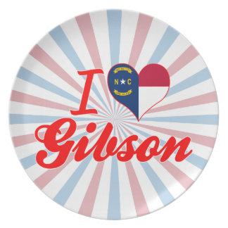 Amo a Gibson, Carolina del Norte Plato Para Fiesta