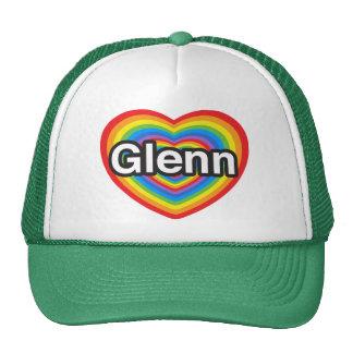 Amo a Glenn. Te amo Glenn. Corazón Gorras