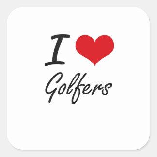 Amo a golfistas pegatina cuadrada