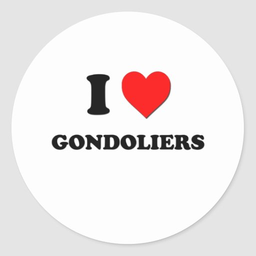 Amo a gondoleros etiquetas redondas