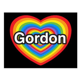 Amo a Gordon. Te amo Gordon. Corazón Tarjeta Postal