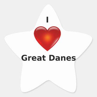 Amo a grandes daneses calcomanía forma de estrellae
