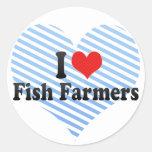Amo a granjeros de los pescados pegatina redonda