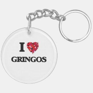 Amo a Gringos Llavero Redondo Acrílico A Doble Cara