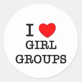 Amo a grupos del chica pegatina redonda