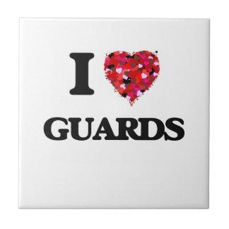 Amo a guardias azulejo cuadrado pequeño