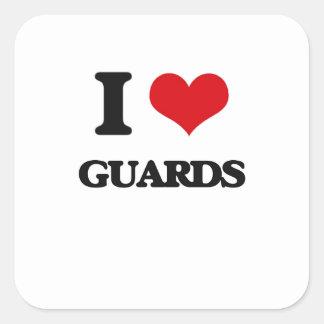Amo a guardias pegatinas cuadradas