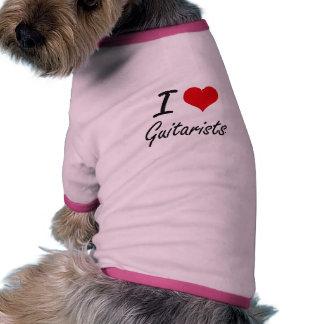 Amo a guitarristas camiseta con mangas para perro