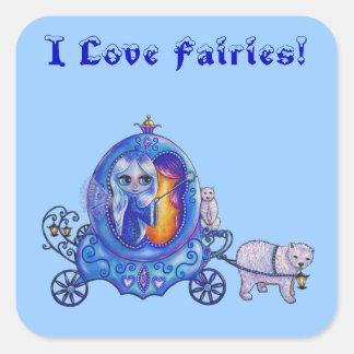 ¡Amo a hadas! Hada, carro de la burbuja, oso polar Calcomania Cuadradas