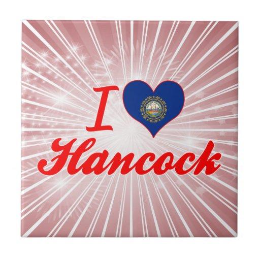 Amo a Hancock, New Hampshire Azulejo Cuadrado Pequeño