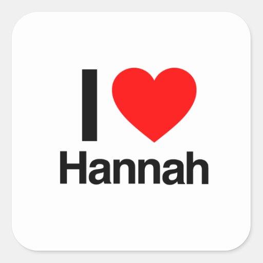 amo a Hannah Calcomanías Cuadradas