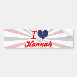 Amo a Hannah, Dakota del Norte Pegatina Para Auto
