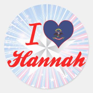 Amo a Hannah, Dakota del Norte Pegatina Redonda