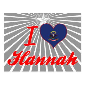 Amo a Hannah Dakota del Norte Tarjeta Postal