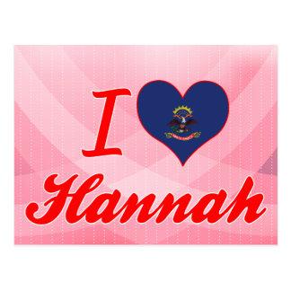 Amo a Hannah, Dakota del Norte Tarjeta Postal
