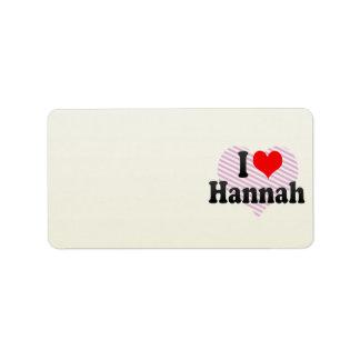Amo a Hannah Etiqueta De Dirección